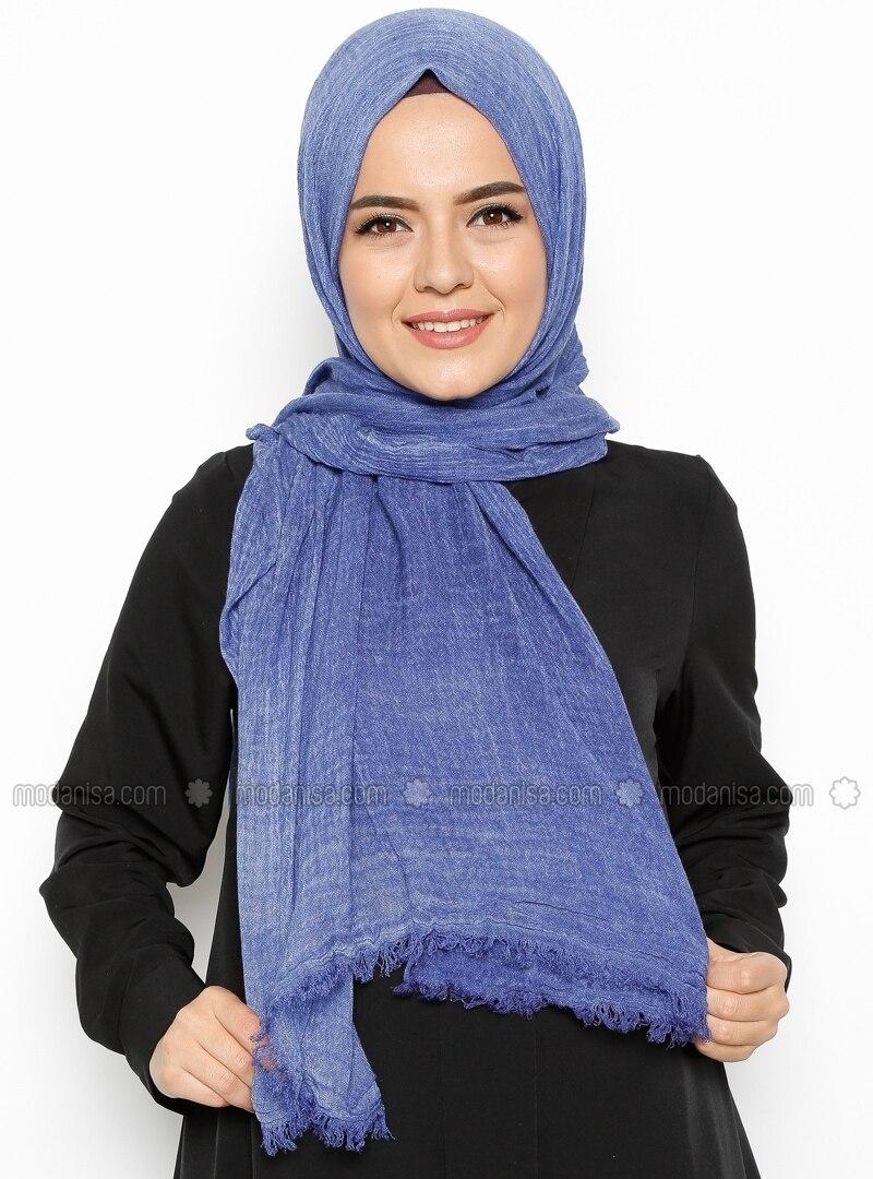 wash cotton scarf blue shawls modanisa