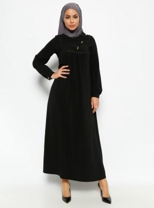 Güpür Detaylı Elbise - Siyah - CML Collection