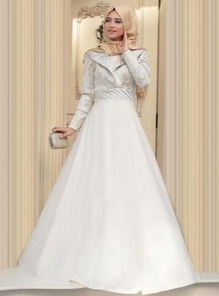 Kösem Abiye Elbise - Ekru - Zehrace