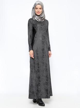 Desenli Elbise - Siyah - Moonlight