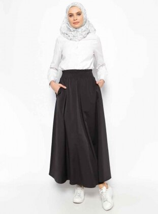 Beli Lastikli Etek - Siyah - Eva Fashion