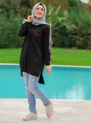 Tunic - Black - Minel Ask 239711