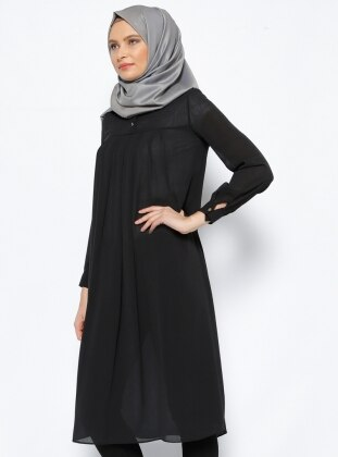 Pile Detaylı Tunik - Siyah Belle Belemir