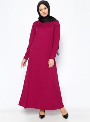 Biye Detaylı Elbise - Mor Beha