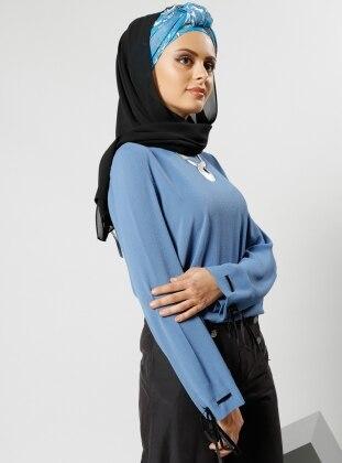 Kolları Bağcıklı Bluz - Mavi - Refka