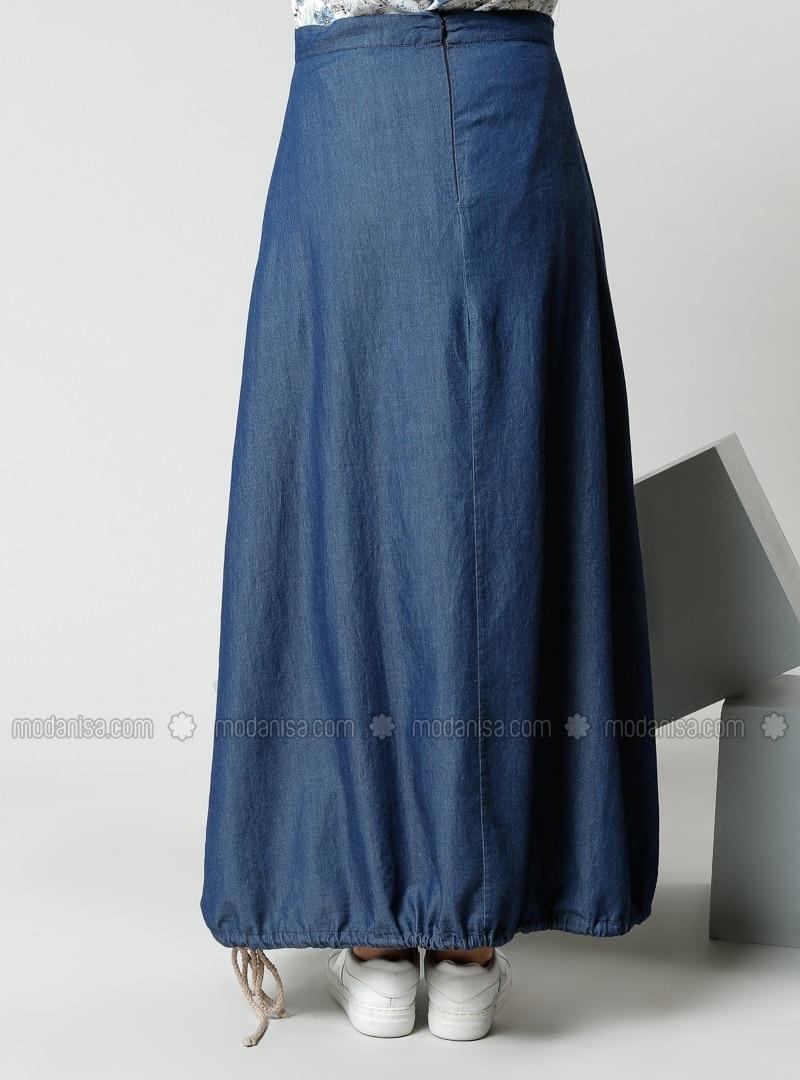 fabric skirts navy blue skirts modanisa