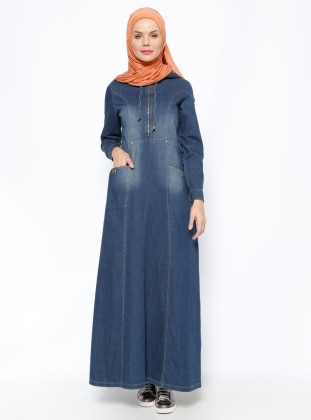 Kapüşonlu Elbise - Lacivert - Ginezza