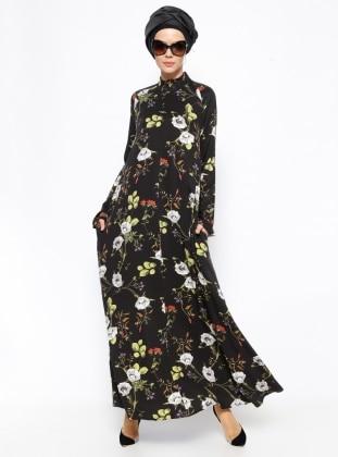 Tuva Çiçekli Elbise - Siyah