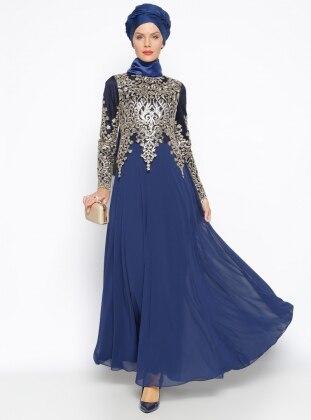 Muslim Evening Dress - Navy Blue - MODAYSA 246637