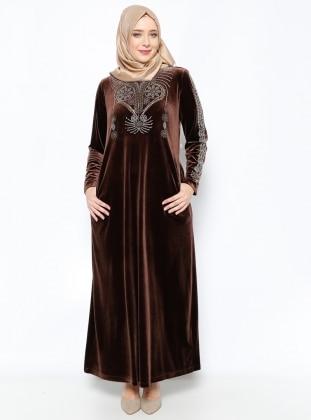 Drop Baskılı Kadife Abiye Elbise - Kahve - Ginezza