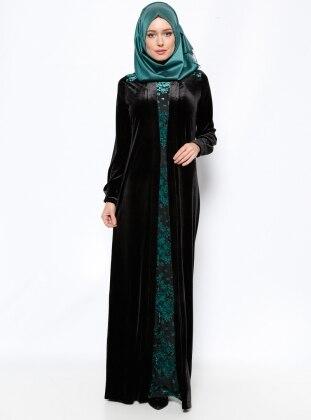 Kadife Elbise - Siyah Yeşil Ginezza