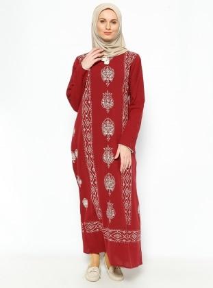 Şile Bezi Baskılı Elbise - Bordo - Çıkrıkçı