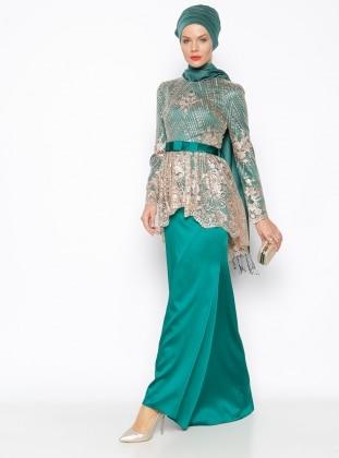 Güpür DetaylıAbiye Elbise - Yeşil
