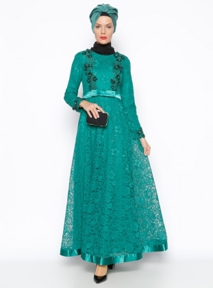 Muslim Evening Dress - Green - MODAYSA 247264