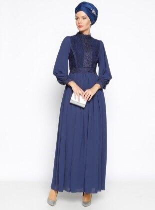 Muslim Evening Dress - Navy Blue - MODAYSA 247275