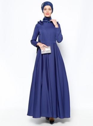 Muslim Evening Dress - Navy Blue - MODAYSA 247291