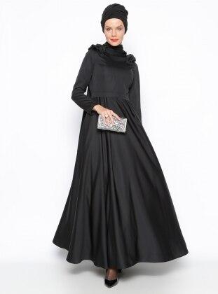 Omuz Detaylı Abiye Elbise- Siyah
