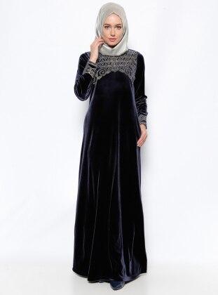 Muslim Evening Dress - Navy Blue - Ginezza 247155