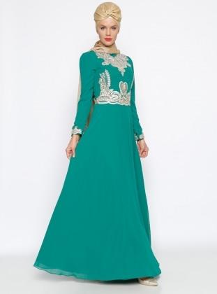 Güpür Detaylı Abiye Elbise - Yeşil
