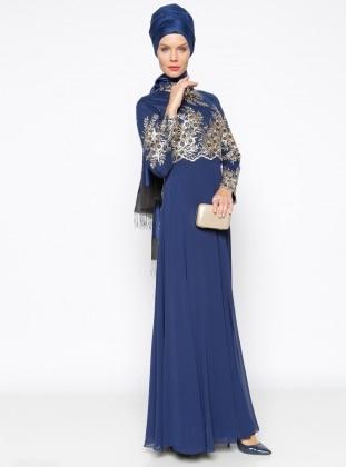 Muslim Evening Dress - Navy Blue - MODAYSA 247283