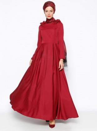 Omuz Detaylı Abiye Elbise- Bordo