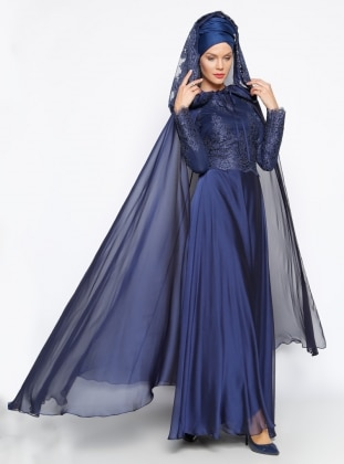 Muslim Evening Dress - Navy Blue - MODAYSA 247299