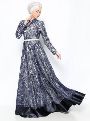 Muslim Evening Dress - Ecru - Asbella Abiye
