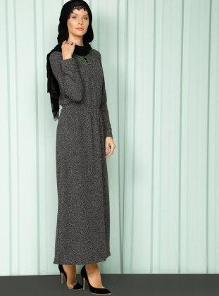 Beli Lastikli Elbise - Siyah Luvice