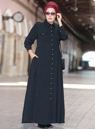 Apoletli Elbise - Siyah - Nesrin Emniyetli