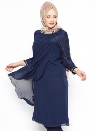 Plus Size Tunic - Navy Blue - Arikan 248370