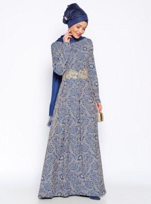 Muslim Evening Dress - Navy Blue - DMN 248666