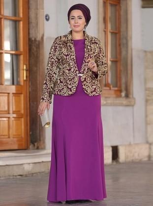 Farah Abiye Ceket&Elbise İkili Takım - Fuşya Nesrin Emniyetli