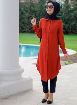 Ribbed Tunic - Orange - Minel Ask 248875