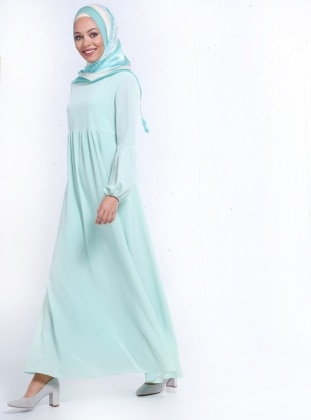Pileli Elbise - Su Yeşili Refka