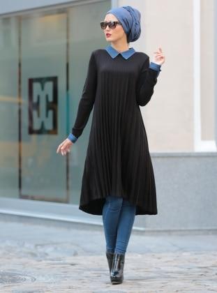 Piliseli Triko Tunik - Siyah - Selma Sarı Design