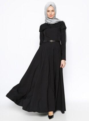 Dantel Detaylı Elbise - Siyah Loreen