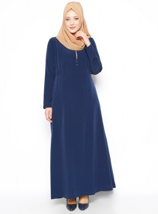 Plus Size Dress - Navy Blue - Esswaap 250441