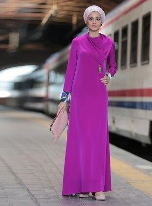 Mendil Yaka Abaya Elbise - Eflatun - Nilüfer Kamacıoğlu