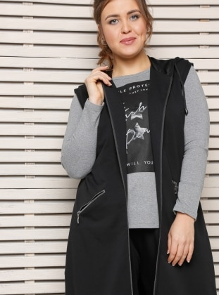 Black - Plus Size Vest - Alia