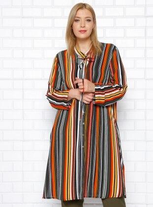 Orange - Stripe - V neck Collar - Plus Size Tunic - he & de 253180