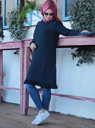Plus Size Tunic - Navy Blue - Saliha 253747