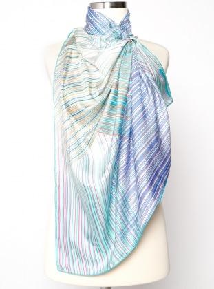 Green - Printed - Twill - %100 Silk - Scarf - Silk&Cashmere