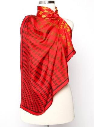 Red - Multi - Printed - Twill - %100 Silk - Scarf - Silk&Cashmere