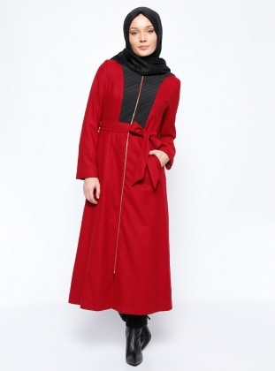 Fermuarlı Pardesü - Kırmızı