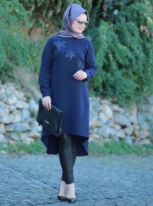Plus Size Tunic - Navy Blue - Saliha 255834