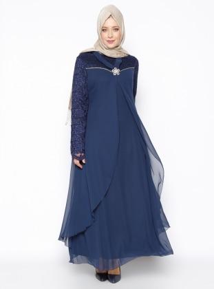 Plus Size Dress - Navy Blue - Mileny 256241