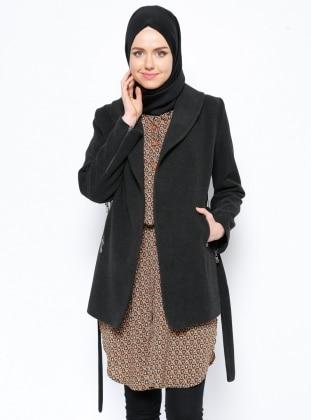 Şal Yaka Kaban - Antrasit Eva Fashion