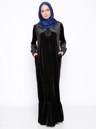 Muslim Evening Dress - Navy Blue - Ginezza 256686