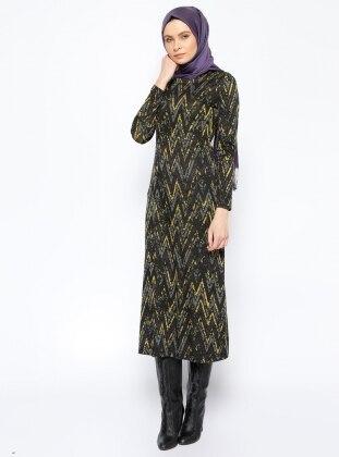 Desenli Elbise - Sarı Jaade