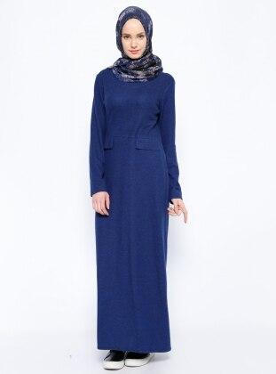 0549e7af9f776 Kırçıllı Elbise - Saks - Beha Tesettür
